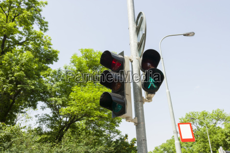 traffic signal and street light against