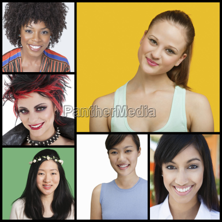 collage of attractive women of different