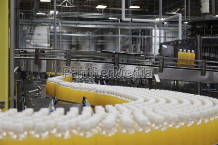 packed bottles moving on conveyor belt