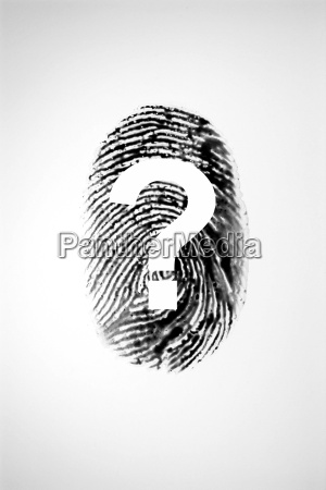 finger print and question mark