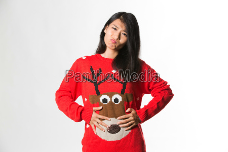portrait of woman in christmas sweater