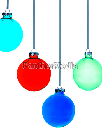 four christmas baubles on white background