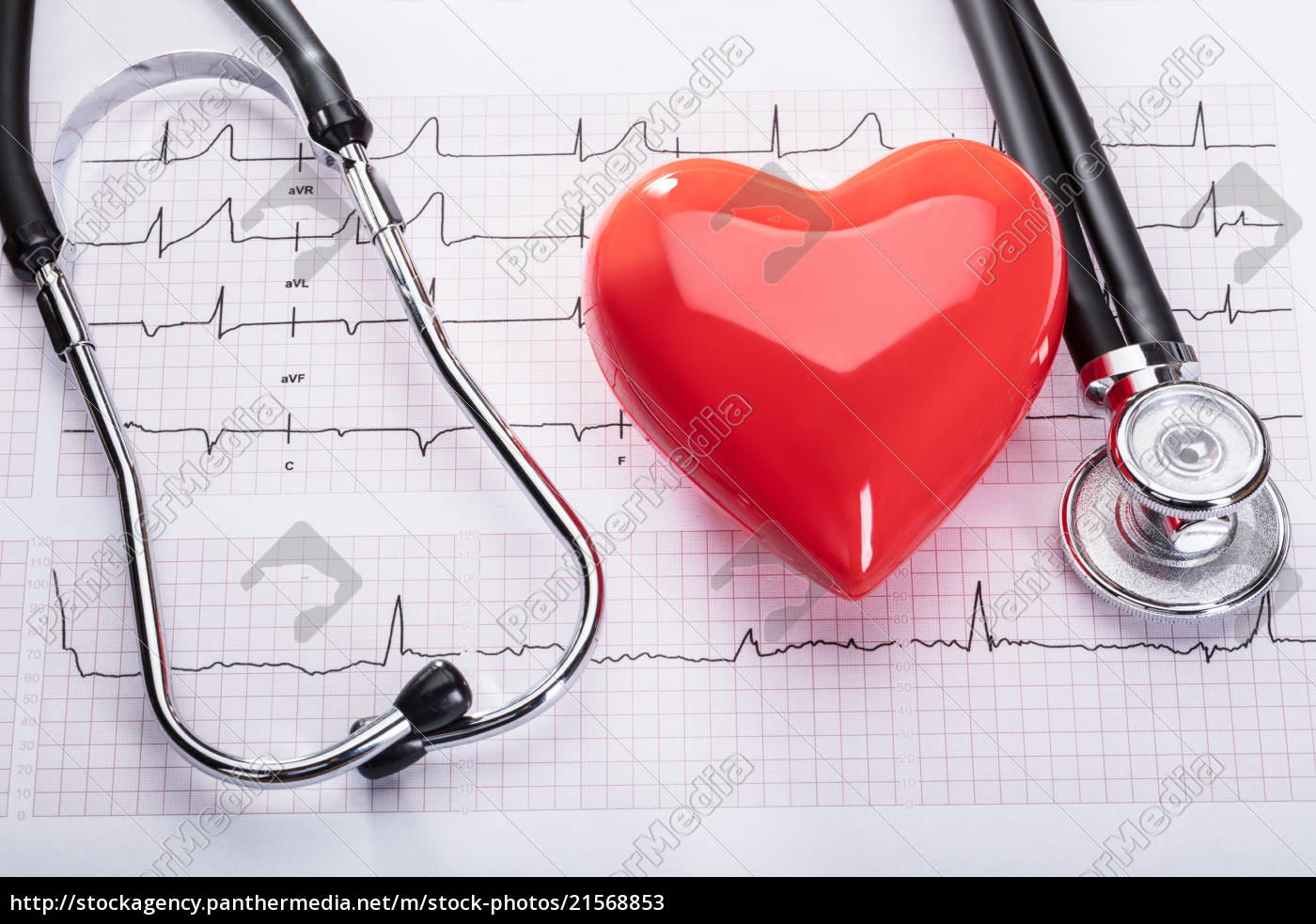 cardiogram, with, heart, and, stethoscope - 21568853