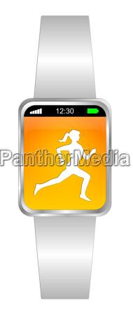 white orange smartwatch with female runner