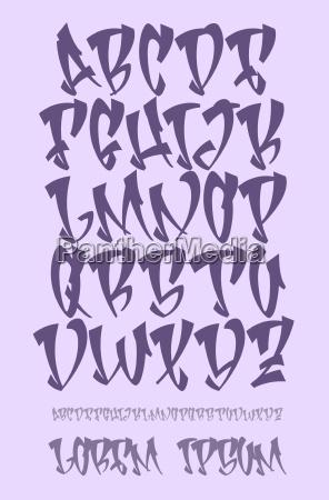 graffiti alphabet hand written vector