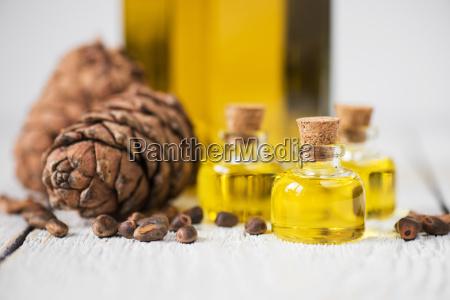 the cedar oil in a glass