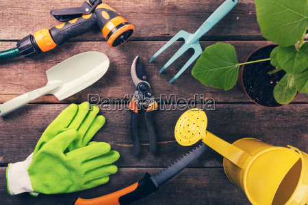 gardening tools and equipment on old