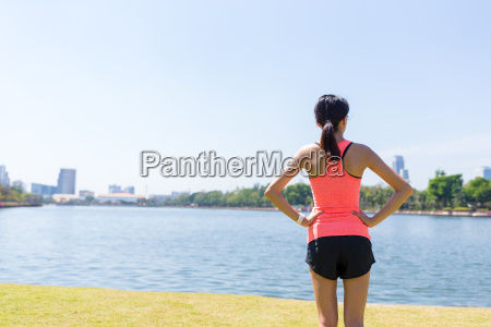 back view of sport woman at