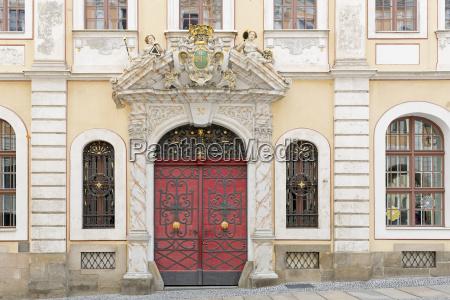 historic facade with entrance door in