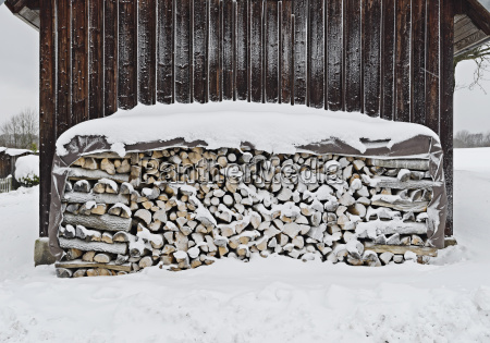stack of firewood outside house on