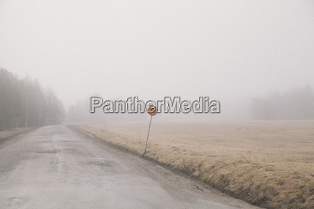 country road by field in foggy