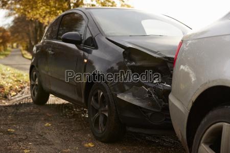 close up of damaged car after