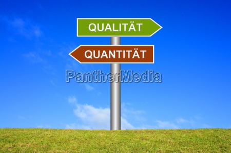 shield signpost shows quantity or quality