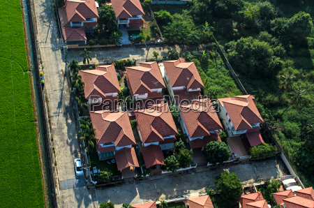 housing area roofs view from the