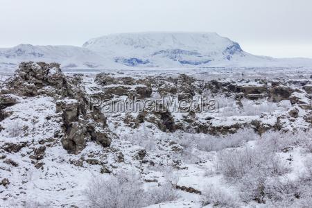 winter landscape dimmuborgir lake myvatn iceland