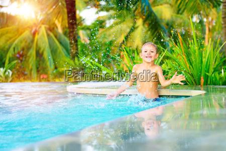 little boy in the pool