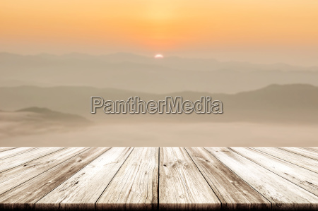 empty wooden table top with beautiful