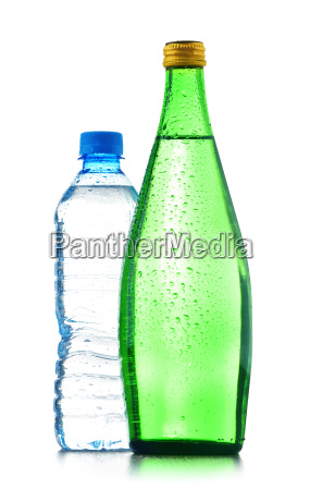 two bottles of mineral water isolated
