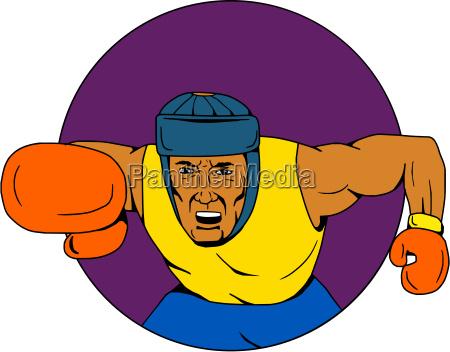 amateur boxer punching circle drawing