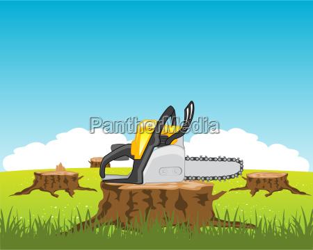 chainsaw on stump tree