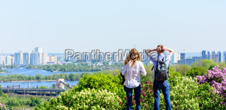 young people looks at a panorama