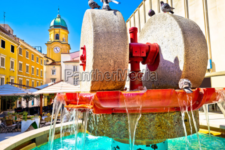 rijeka square and fountain view with