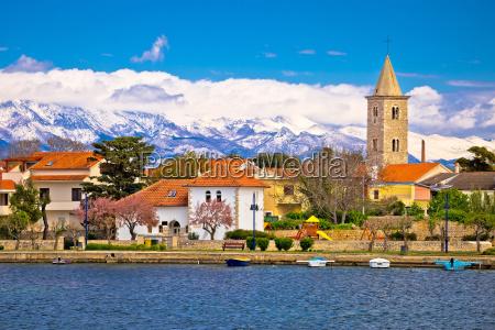 town of nin and velebit mountain