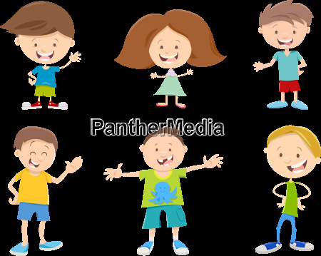 happy cartoon children set