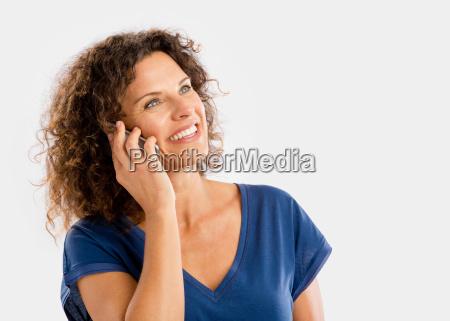 happy woman talking at phone