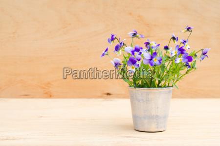 spring flowers in vintage vase