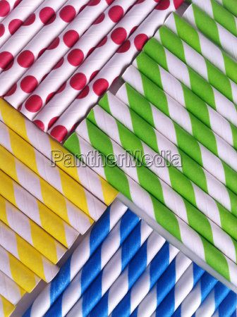 colorful patterned straws