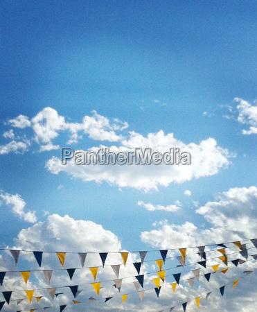 streaming flag banner across blue sky