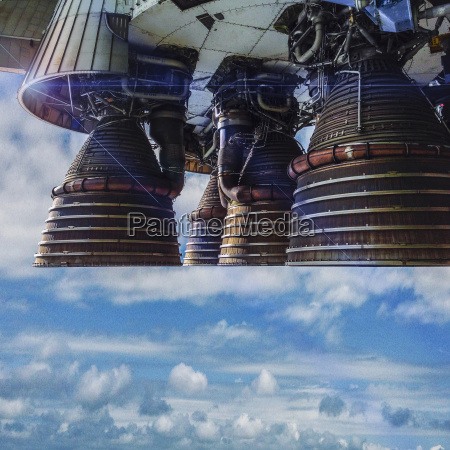 close up of space shuttle engines