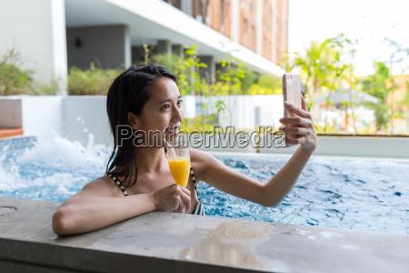 young woman with bikini enjoy in