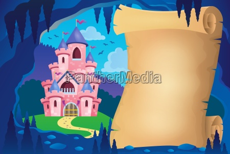 parchment in fairy tale cave image