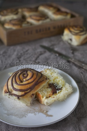 yeast bread rolls with chocolate