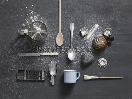 old baking utensils top view