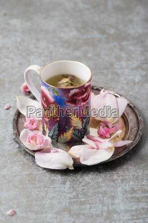 rose blossom tea and rose petals