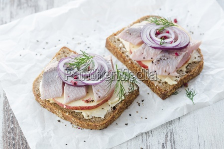 stuffed bread with herring apple and