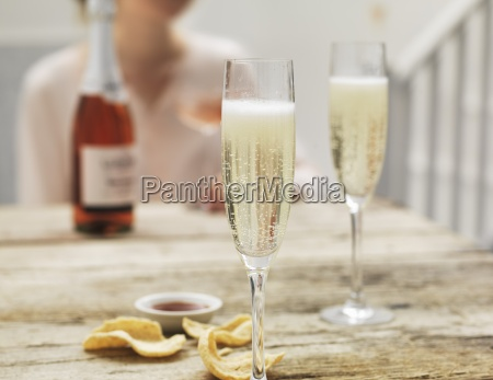 prosecco in two glasses on a
