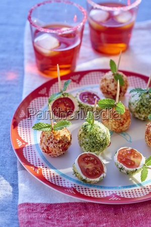 cherry tomatoes in fresh cheese party