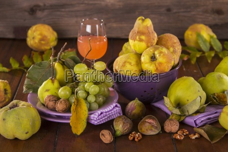 still life with autumn fruits quince