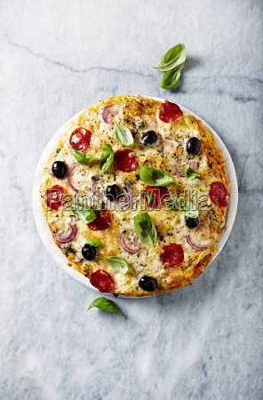 pizza with chorizo cheese and red