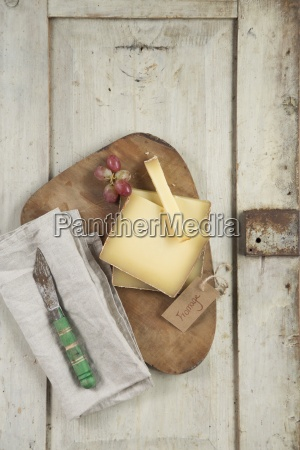 hard cheese on a wooden board