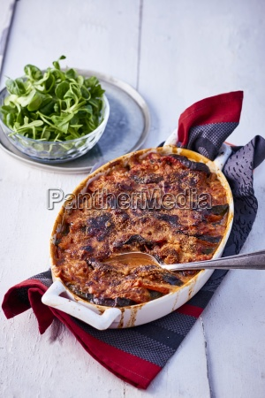 vegetable gratin with lambs lettuce