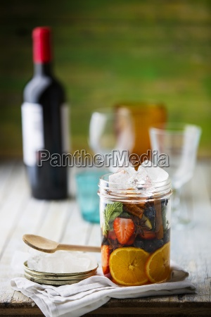 ingredients for sangria in a glass