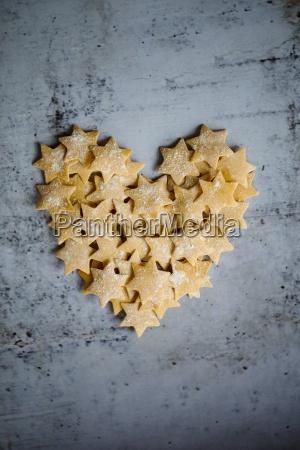 pasta stars in a heart shape
