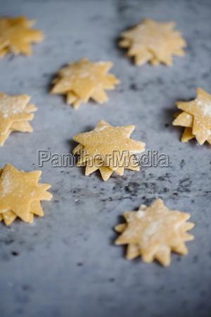 small stacks of pasta stars