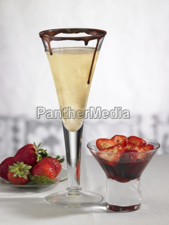 a champagne glass with chocolate and