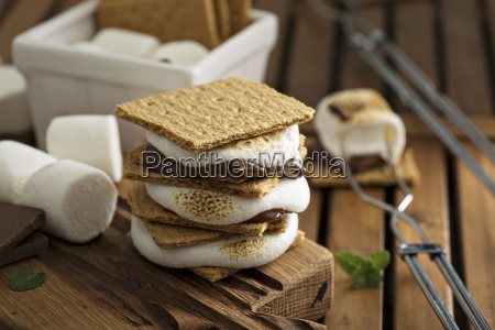 picnic dessert smores with marshmallows graham